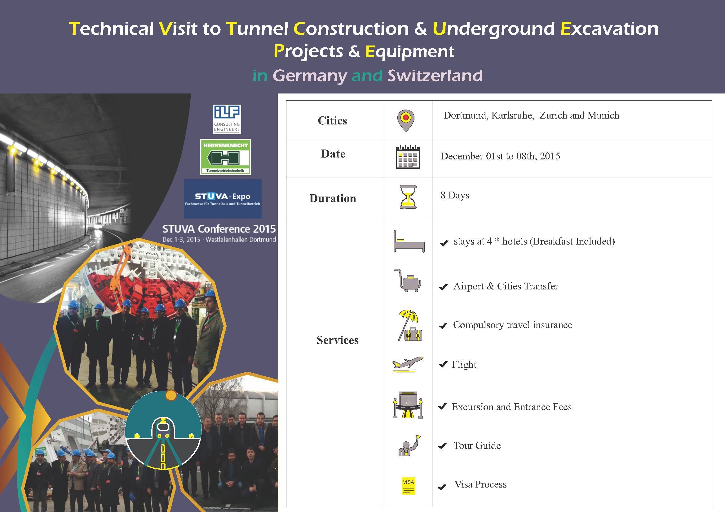 Technical Visit to Tunnel Construction & Underground Excavation Projects & Equipment, Dec. 2015